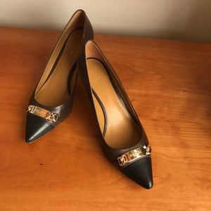 Coach Brown and black spectator kitten heel size 8
